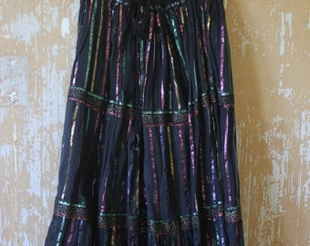 ON SALE vintage. Indian Gauze Black  Mid Full Skirt with Metallic Thread details  / India / Rare Gypsy Boho // One Size fits All