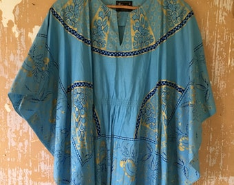 vintage.  70s Blue Cotton Butterfly  Tunic // S to M