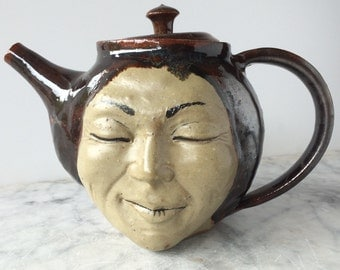 Face Teapot Serving Sculpture with Strainer, Stoneware Figure Art Vessel Portrait