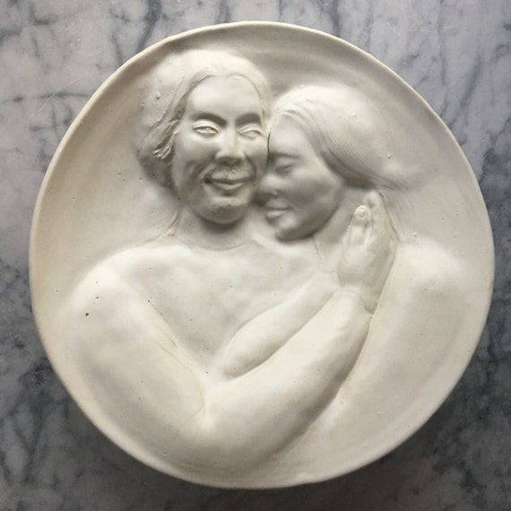 Ceramic Wall Art Platter Lovers Embrace Tender Love and Care Bas Relief Sculpture Roundel