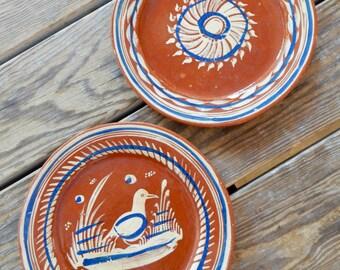 Pair Vintage Mexican Plates Rustic Folk Art Hand Painted Primitive Bird Flower or Sunburst Motifs For Casita or Cabana