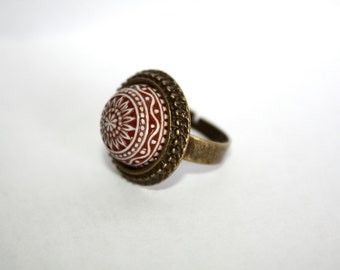 Brown Floral Rustic Czech Glass/Antique Bronze Adjustable Ring, Rustic Jewelry,