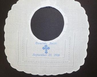 Personalized Bib Christening Bib Baptism Bib Embroidered Linen Bib with Name Date and Cross