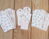 Pink Stripe Floral Ornate Shape Deco Tags