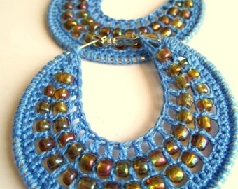 Crocheted hoops with beads in Teal, Bohemian Jewelry, Hippie Jewelry