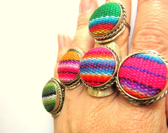 Statement Tribal fabric, Woven design, bohemian ring