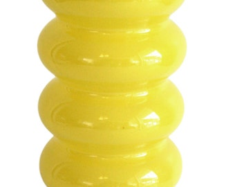 Vintage Mod Op Art Yellow Backpainted Art Glass Vase