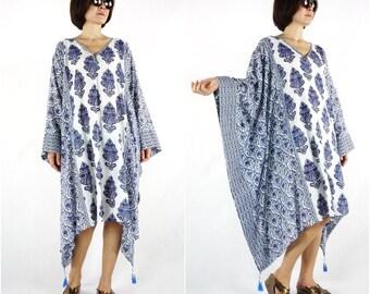 Limited Edition...Soft V Neck Dark Navy Blue Hand Block Print Light Cotton Oversize Kaftan Women Top Tunic Dress Freesize