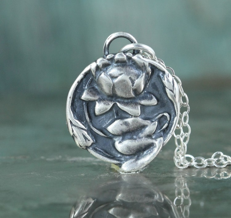 Lotus Necklace Buddhist Jewelry Sterling By Gooseberrystudio