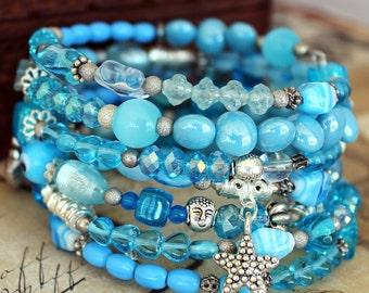 Beaded Memory Wire spiral Wrap Bracelet - Ocean Blues - Wrap around bracelet - Coil bracelet