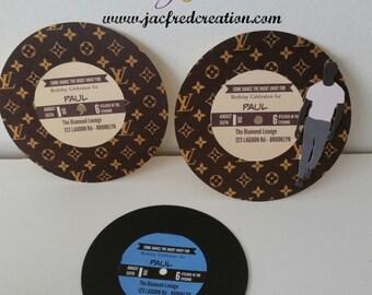 Record label designer inspired invitation for him