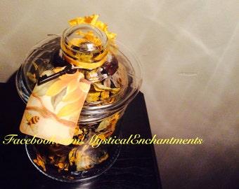 Dried Rudbeckia & Sunflowers Glass Apothecary Jar