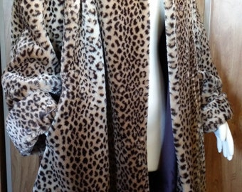 Vtg Faux Leopard Fur 90s Neiman Marcus Swing Coat Padded Shoulders Perfect Condition