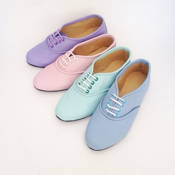 Pony oxfords flats in pastel tones (Handmade to order)