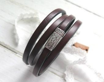 Leather Wrap Bracelet - Dark Wood - Leather Bracelet - Bohemian Jewelry