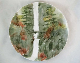 R. Bishop Nippon Hand Painted Multnomah Falls Oregon Plate Signed By Artist!