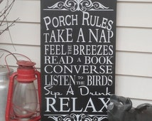 Vintage Style Custom Porch Rules Sign , Deck Rules Sign, Patio Rules Outdoor decor Typography Word Art Sign