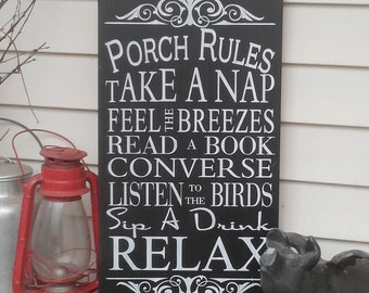 Vintage Style Custom Porch Rules Sign Deck Rules Sign, Patio Rules Outdoor decor Typography Word Art Sign