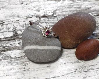 Handmade silver & Rhodolite Garnet stacking ring