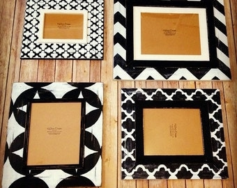 Black and white picture frame set gallerywall, painted picture frames, frame sets, black and white chevron frame