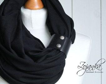 BLACK Infinity scarf, cotton Shawl Loop black scarf with leather cuff, black tube scarf, plain scarf with cuff