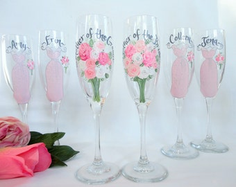 EXACT DRESS REPLICAS, Hand Painted Bridesmaid Champagne Flutes, Painted Wine Glasses, Personalized Wine Glasses, Painted Bridesmaid Wine