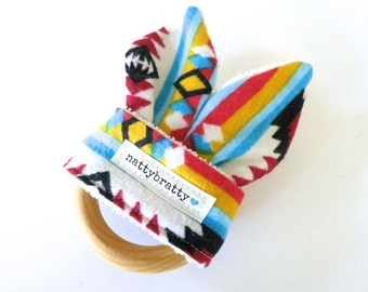 SALE: Teething Ring - Baby Toys - Maple Natural Wood Ring Teether with Fabric Bunny Ears - Tribal Style Southwest Print - Baby Boy Gift