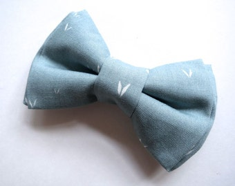 Boys Bow Tie - Adjustable Velcro or Clip On - Ring Bearers, Weddings, Parties - Faded Sky Blue - Grey Soft Dusty Blue - V Print Tribal