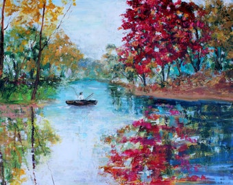 Original oil painting Early Morning Autumn Serenity -  fishing landscape palette knife impressionism on canvas fine art by Karen Tarlton