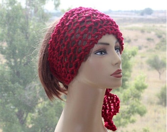 Burgundy Headband Crochet Womens Headband Boho Headband Dreads Wrap  Hair Accessories Hippie Headband  Womens Accessories