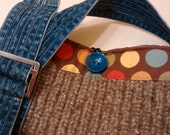 SALE Recycled Wool Sweater Tote, crossbody reclaimed adjustable denim belt handles, lined with polka dot fabric.