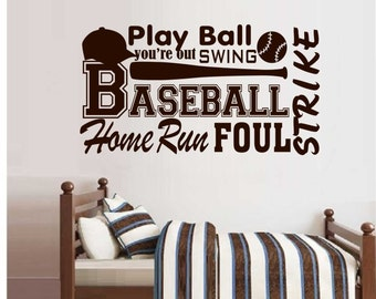 Baseball Word Collage Quote Vinyl Wall Lettering Decals