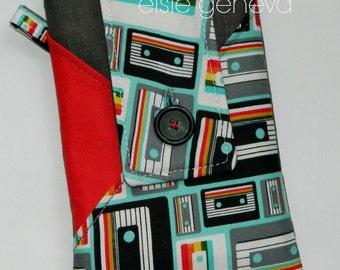 Retro Phone Case with Optional Wrislet Shoulder Strap or Belt Clip  Cassette Tapes Black Red and Aqua - Made to Order
