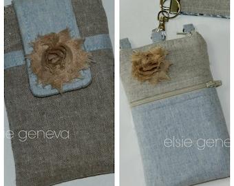 Solid Sand Natural Placid Blue Japanese Linen Zipper iPhone 4 5 6 Plus Phone Case Rosette Includes Choose Your Wristlet Style