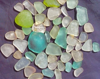 Sea Glass or Beach Glass of Hawaii beached 50  BIG OCEAN BLUE! Hearts! Bulk Sea Glass! Mosaic Tiles! Seaglass! Sea Glass Bulk!