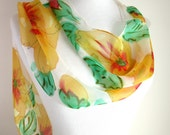 Hand Painted Silk Scarves - Floral Scarf - Hawaiian Hibiscus - Gold and Green
