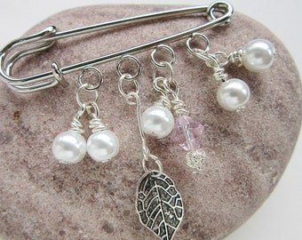 Crystal and Pearl Shawl Pin - Scarf Pin - Sweater Pin - Beaded Brooch with Silver Leaf
