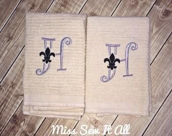 Fleur De Lis Initial Towels