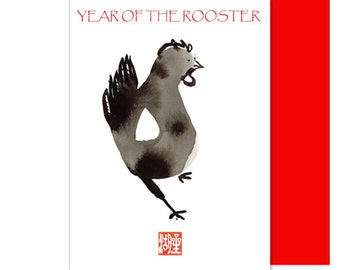Rooster, Year of the Rooster, Chinese new years cards with lucky red envelope 2017,  new baby shower invite, holiday greetings,