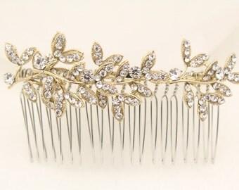 Gold Bridal hair comb,Crystal Hair comb Wedding,Hair accessories Gold Wedding hair comb,Bridal hair piece,Wedding comb,Bridal hair accessory