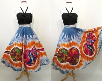 Awesome 1950's Hand Painted Mexican Circle Skirt w/ Images Giant Guitars Signed by Artist Rockabilly Western Vintage Mexi Skirt Size-X-Small