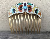 Vintage Cloisonne Hair Comb Enamel Inlay Butterfly