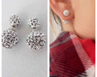 Double side Earring, Stud earrings Double stud earrings, Double crystal earrings, Double side earrings, Double pave stud earrings, stud