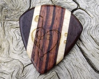 Multi-Wood Jazz Stubby Guitar Pick - Premium Quality - Handmade - Laser Engraved Both Sides - Actual Pick Shown - Artisan Guitar Pick