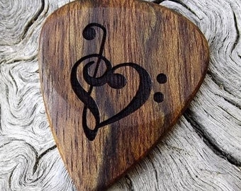 Handmade Premium Laser Engraved Wood Guitar Pick - Caribbean Rosewood - Actual Pick Shown - No Stock Photos