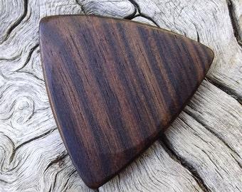 Wooden Tri-Tip Guitar Pick - Premium Quality - Handmade With Mun Ebony Wood - Actual Pick Shown - Artisan Guitar Pick