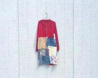 Knit Red Hoodie Patchwork dress funky upcycled denim boho gypsy jacket wearable art tunic dress by CreoleSha