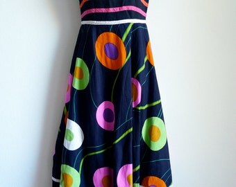 SALE 70s Christian Pauvert french brightly patterned black sundress