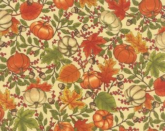 Welcome Fall Pumpkins on Cream Fabric ~ Moda 19771 12 ~ Deb Strain ~ Autumn Fall Seasonal - Harvest Pumpkins ~ Fall Leaves ~ BTY Yardage