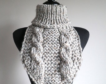 Light Gray Color Women Men Unisex Knitted Wool Acrylic Mix Yarn Chunky Capelet Turtleneck Collar Dickey Gaiter Cowl